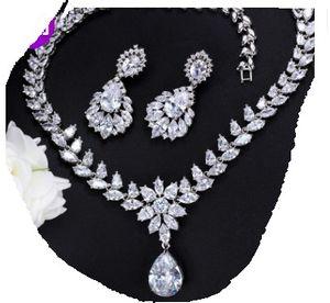 cor branca diamante noiva de cristal de cristal jewerly l conjunto colar ((42cm) brincos (4.2cm * 1.8cm) (103)