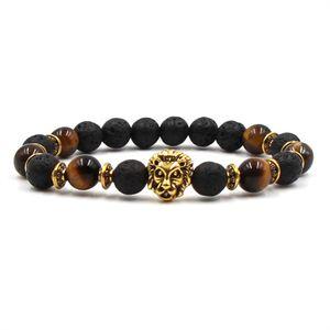 Männer Perlen Armbänder Lava Naturstein Perlen Strang Armband Armband Tigerauge Stein Lava Armband