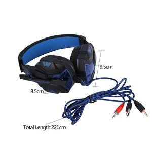 Casque de jeu stéréo avec microphone Casque filaire avec éclairage LED Casque à commande vocale avec suppression du bruit