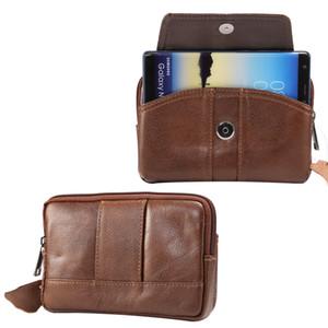 Correia da faixa de cintura do telefone móvel bolsa de couro genuíno case para sony xperia xz3 / xa2 mais, zte axon 9 pro, nubia z18, para asus rog telefone