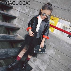 XiaGuoCai 2017 мода девушки детские искусственная кожа куртка пальто весна осень детская одежда отложным воротником пиджаки костюм k221 27
