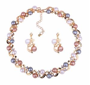 Hübsche Halsketten Ohrring Set Mädchen / Damen gefälschte Perle Gold Silber Ton Schmuck Sets