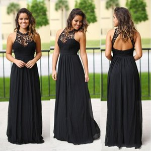 Sexy Long Black Chiffon Bridesmaids Dresses 2018 Halter Neck Cheap Lace Country Bridesmaid Dress Wedding Party Gowns