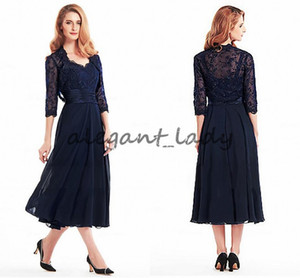 Stunning navy blue Chiffon & Lace V-neck Neckline Tea-length Mother Of The Bride groom Dresses With Detachable lace Coat