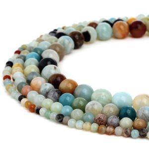 TSunshine Top Quality Natural Multi Color Amazonita Gemstone Rodada Solta Pérolas Para Fazer Jóias DIY Europeus 1 Strand - 4 MM-10 MM