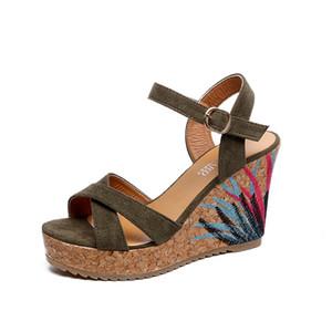 Новые сандалии женские Вышитые водонепроницаемые открытые туфли на платформе sandalias mujer 2018 Клин толстой коры на высоком каблуке женские сандалии