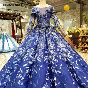 2019 Real Blue Ball vestido de noite Dresse mangas compridas O-Neck Lace Up Voltar Flores Pavimento Length inchado formais Vestidos China Girl Pageant Vestido