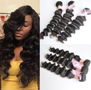 Бразильские свободные глубокие вьющиеся вьющиеся необработанные человеческие волосы девственницы Weaves Remy Extensions Extensions Remible 3 Seardles / Lot