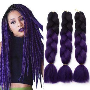 De Kanekalon Jumbo trenzado de cabello sintético de dos tonos de cabello negro marrón Jumbo extensión del pelo Trenzas de 24 pulgadas Xpression