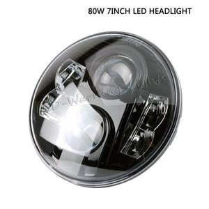 Faro da 7 pollici 80W rotondo LED H4 H13 plug daymaker con adattatore per moto fuoristrada 4x4 camion DRL fari