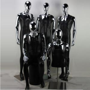 Nuovo stile moda in fibra di vetro pieno corpo maschio manichino nuovo stile argento cromato testa modello vendita diretta della fabbrica