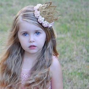 Rose Flowers Gold Lace Crown Headband Baby Girl Accesorios para el cabello Lace Hairband Crown Hairwear Recién nacido Fotografía Prop