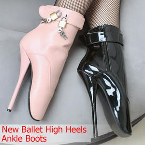 Freeshiping DHL Women Man Sexy Lock 18cm Spike High Heel BALLET Black Shiny Ankle Boots Fetish Shoes ballet boot customize plusSize YYBM-032