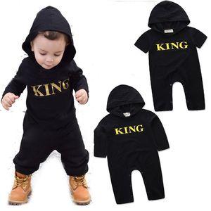 Baby KING lettre barboteuse INS garçons lettre impression combinaisons 2018 nouvelle mode enfants Boutique Hooded Escalade vêtements C3534