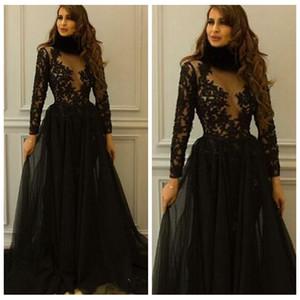 Элегантный черный 2018 Платья Вечерняя одежда Длинные рукава Кружевные аппликации Формальные платья для выпускного вечера Sexy See Through Arabic Dubai Party Dress