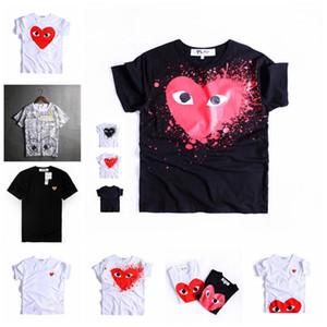 Camiseta de la marca de moda para hombre amantes del corazón rojo impreso camiseta para hombres Hip-hop de color sólido manga corta para mujer camiseta superior
