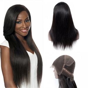 Parrucca piena del merletto dei capelli umani del merletto a 18 pollici diritta peruviana dei capelli umani di colore nero diritto per la ragazza nera affascinante