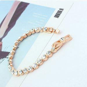Rodada Moda Design Tênis bracelete feito com a Austrian elementos de cristal cor do ouro Zircon Pulseiras Bangles For Women Wedding Jewelry