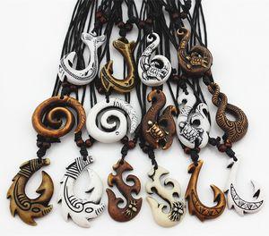 Смешанные Гавайские ювелирные изделия имитация кости резные НЗ маори рыбный крючок ожерелье колье твист спираль Амулет подарок MN542