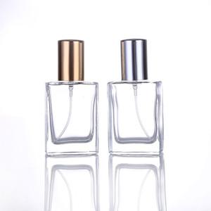 200Piece / Lot 30ML الأزياء المحمولة زجاجات العطور الزجاج الشفاف مع الذهب والفضة البخاخة فارغة التجميل الحاويات للسفر