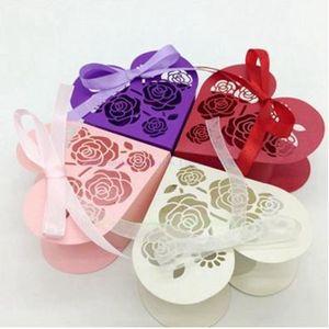 Dulce Amor Forma de Corazón Banquete de Boda Cajas del Favor de Hollow Rose Caja de Dulces Titular de Chocolate Bolsas de Regalos Caja de Pastel con cinta