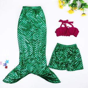 New Pretty Baby Shell Meerjungfrau Badeanzug dreiteilige Split Sets Fischschuppen Bikini Meerjungfrau Prinzessin Swimwears Kinder Kleinkind Bikini