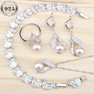 Traje de las mujeres de Agua Dulce de Perlas Naturales 925 Conjuntos de Joyas de Plata Pulseras de Circón Blanco Colgante Collares de Pendientes Pendientes Caja de Regalo
