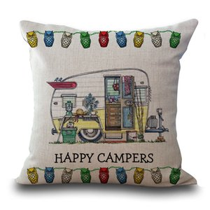 Happy Campers Moter Home travel pillow Case Cushion cover Pillowcase Cover Square linen cotton soft pillowslip Home decor 240566