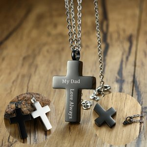 Gravure gratuite Black Blessed Cross Ash Ash Collier pendentif Bijoux en acier inoxydable Crémation et Keepsakes 24 pouces