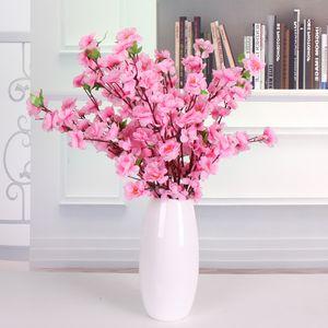 Yapay şeftali ağaçları Kiraz çiçeği Bahar Erik Şeftali Çiçeği Şube İpek Çiçek Ağacı Düğün Dekor çiçekler Ev masa centerpieces