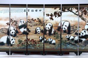 """Buona pittura manuale di lacca cinese """"Scorrimento della schermata del tesoro nazionale"""