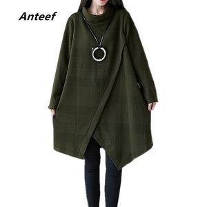 Anteef хлопок плюс размер винтажная одежда Женщины Повседневная свободные мини весна осень зима dress vestidos 2018 платья