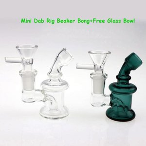 Mini Glass Bong Dab Rig Around 3.3 Inch With Free Glass Bowl Green Clear Small Pyrex Bubbler Glass Water Bongs Oil Rigs