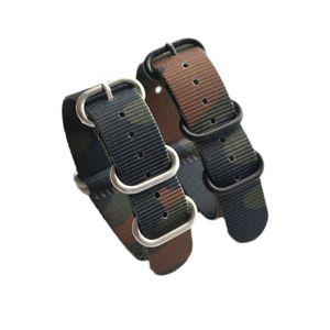 Camuflaje de calidad fina de nylon Nato correas de reloj con anillos de acero 18 mm 20 mm 22 mm 24 mm 5 unids / lote