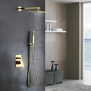 Laiton doré massif Salle de bains Luxe carré Mélangeur de douche Set de douche Système de pommeau de douche à effet de pluie Finition dorée polie