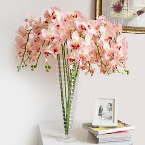 Fiori artificiali 15pcs Phalaenopsis alta qualità Bianco Blue Orchid fiore di seta per la decorazione domestica Wedding Tavolo da pranzo 6color