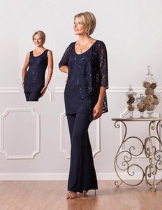 Chiffon Mother Of The Bride Suits Pants Jacket Long Sleeves Three Pieces Plus Size Lace Appliques Floor Length Mothers Suits in Navy BA6031