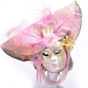 Maschera di Halloween cappello femminile colorato disegno o modello Di alta qualità piume di struzzo mascherata di Venezia Maschera per adulti palla