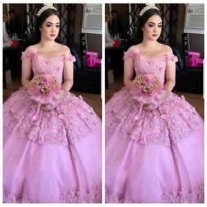 2018 neue Sheer One Shoulder Ballkleid Quinceanera Kleider Benutzerdefinierte 3D Floral Geschmückten Perlen Prom Party Kleider Vestidos De Quinceanera 16 Alter