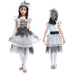 Halloween Costume da spettacolo per bambini Spettacolo per feste Spider Fairy Dress Abiti con testa Veil Spider Bride Gioca Costume Girls Princess Dress