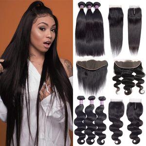 Grade 10A Brésilien Droite Vierge Human Hair Bundles avec fermeture Oreille frontale à l'oreille Négocié Indian Body Wave Extensions d'extensions de cheveux Bundles