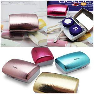 Lenti a contatto moda 4 colori Custodia con lenti a contatto a specchio Scatola da viaggio portatile colorato Occhiali da viaggio Kit Set