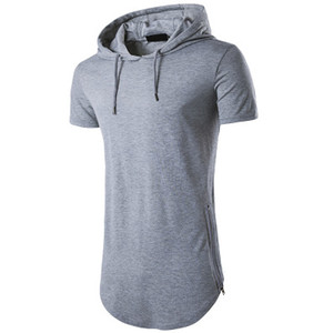 2018 New Style Korean T-shirts, Short Sleeved T-shirts, Men's Zipper Bottom Shirts, Fashion With Hood Cotton Blend Breadthable