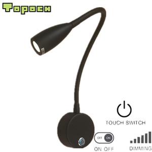 Topoch Testata Lampade Matte Black Touch ON / OFF / dimmer fascio stretto 3W LED luminoso morbido sano residenziale RV barca Illuminazione