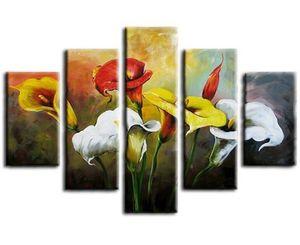 Large 5 Panel Canvas Pictures Sets Home Art Pintura al óleo abstracta pintada a mano Pintura floral colorida hecha a mano
