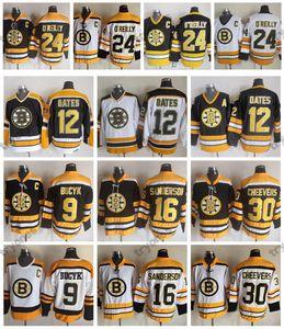 Boston Bruins Vintage 12 Adam Oates 9 Johnny Bucyk 16 Derek Sanderson 30 Gerry Cheevers 24 Terry O'Reilly Preto camisola do hóquei