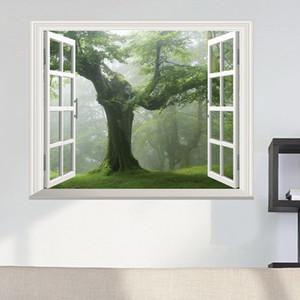 Verde velha Floresta Tree 3D Window View decalque da parede decoração adesivo de parede árvore de grande Viver parede da sala Etiqueta Início DIY Decal
