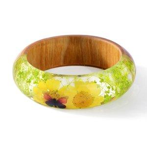 2018 nuevo diseño pulsera brazalete de la resina de madera del encanto con el Real brazalete de flores secas para la joyería hecha a mano de las mujeres