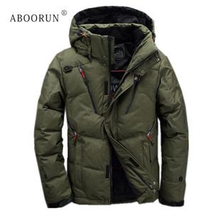 ABOORUN Kış Erkek Moda Aşağı Ceket Katı Kalın Kapşonlu Aşağı Ceketler erkek Casual Sıcak Ceket Parkas L18101103