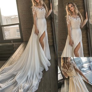 2018 Long Sleeves Beach Wedding Dresses Sexy High Split Side Slit gasa perla de encaje de cristal apliques Bohomian vestidos de novia